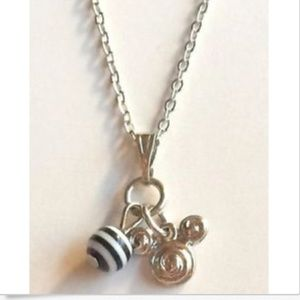 """Silver Mickey Mouse Ears Necklace 19"""" Disney"""